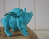 Cottage Decor Shabby Chic Cast Iron Pig in Blue Green Patina