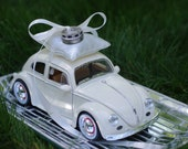 Wedding Volkswagon Bug Toy Car Ring Bearer Pillow - Ivory or Blue