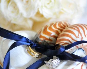 Beach Wedding Double Ring Bearer - Nautilus Shell Eco Ring Bearer Pillows