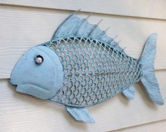 Beach Wall Decor Metal Fish - Ocean Blue