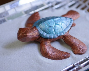 Beach Decor Cast Iron Baby Sea Turtle - Bronze and Turquoise