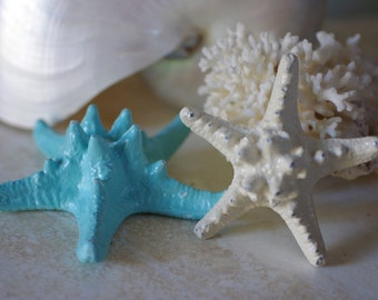 Beach Decor - Set of 2 Cast Iron Knobby Starfish - PICK YOUR COLOR