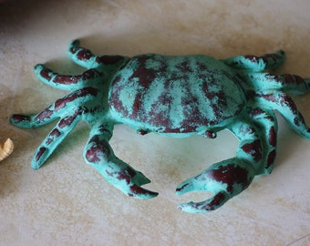 Beach Decor Cast Iron Big Crab Shabby Green and Red