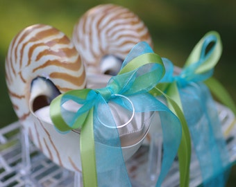 Beach Wedding Double Ring Bearer - Nautilus Shell Ring Bearer Pillows - Eco Ring Bearer