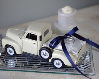 Wedding Ring Bearer Pillow - 1953 Chevy Toy Pickup Truck with Satin Pillow and Ribbon