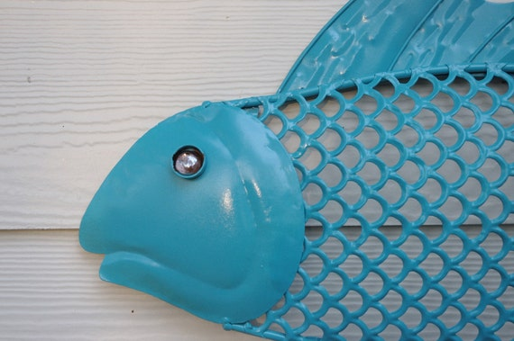 Etsy Turquoise Wall Decor : Items similar to beach wall decor metal fish turquoise