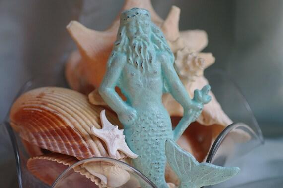 Cast Iron King Neptune - Manmaid - Beach Decor Wall Hook