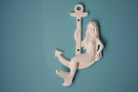 Beach Decor Mermaid Sitting on Anchor Wall Hook - PICK YOUR COLOR
