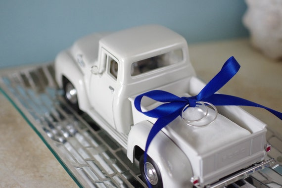 Wedding Ring Bearer Pillow - 1956 Ivory Ford Toy Pickup Truck with Satin Pillow and Ribbon