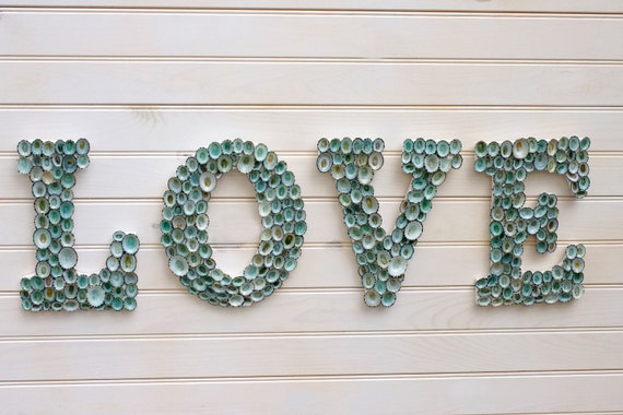 beach decor seashell covered sign letters love or any 4 lettered word