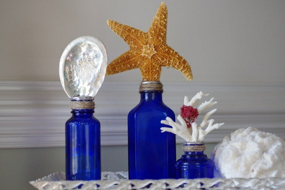 Beach Decor Set of 3 Vintage Cobalt Blue Bottles with Starfish, Abalone and Coral