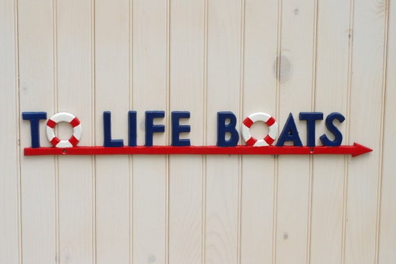 Life Boat Sign - Beach House Decor - Red, White and Navy