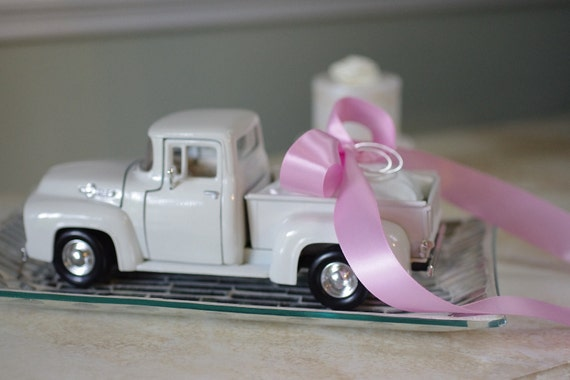 Wedding Ring Bearer Pillow 1956 Ivory Ford Toy Pickup Truck