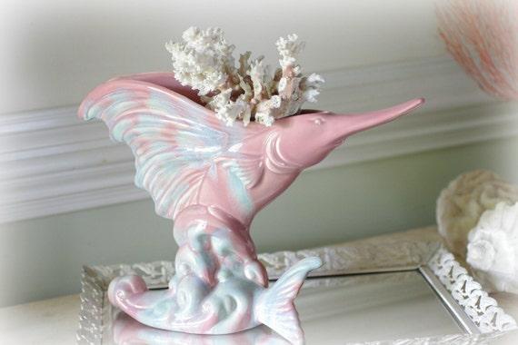 Beach Decor Vintage Swordfish Ceramic Planter - Royal Haeger Planter