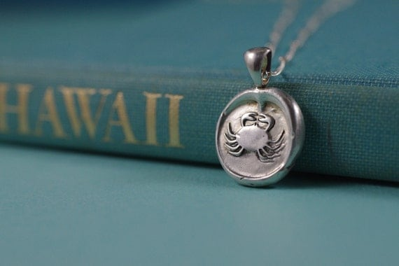 Fine Silver Crab Pendant and Necklace
