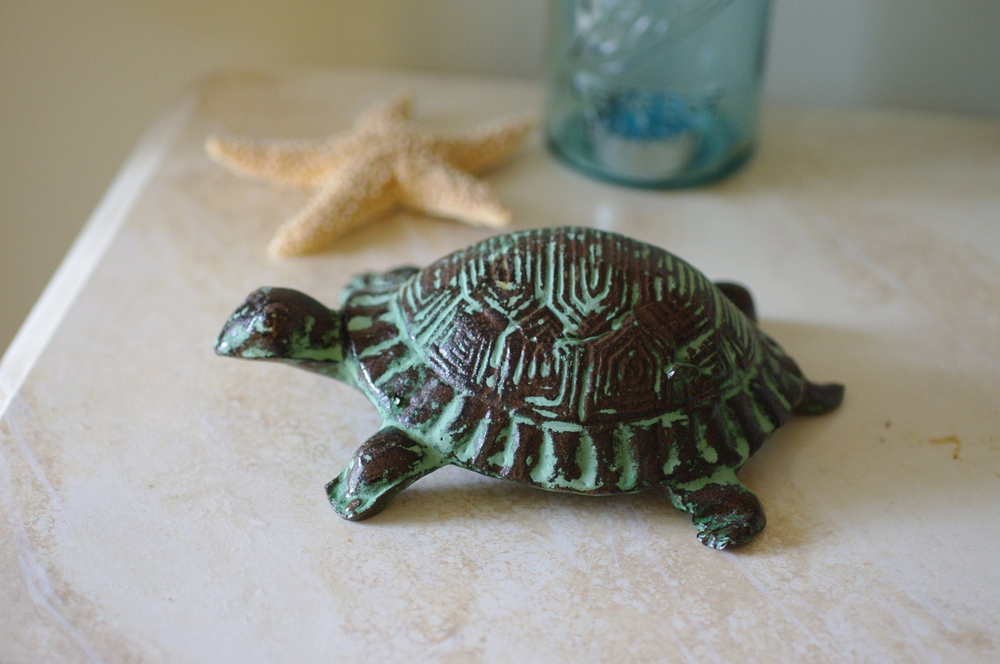 Home decor cast iron turtle figurine ocean green for Turtle decorations for home