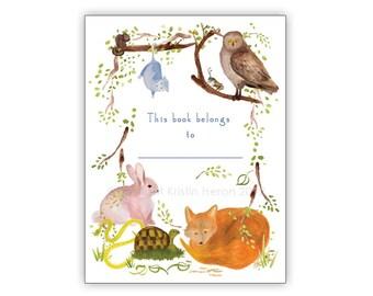 Woodland Animal Bookplates Set of 12 - Customizable