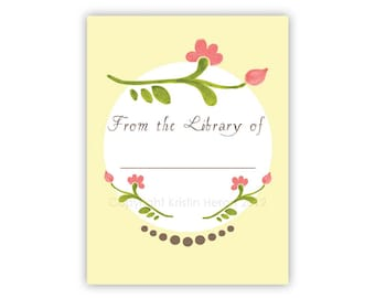 Pink Flowers Bookplate Set of 12 - Customizable