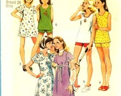 1970's Pattern Simplicity 6307  Girls Dress Top Shorts  Size 7 Uncut Pattern