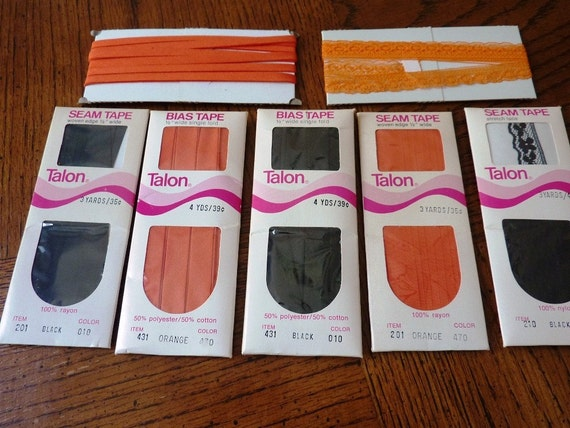 Halloween Orange and Black Bias Tape Trims Vintage Sewing Notions 1970s