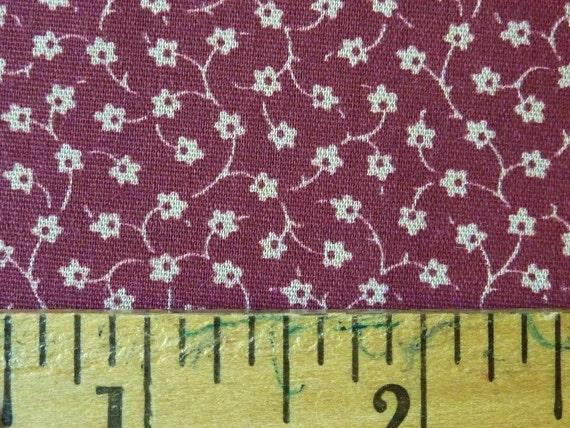 Quilt Fabric Destash Burgundy Cream Flower Vine Cotton Print