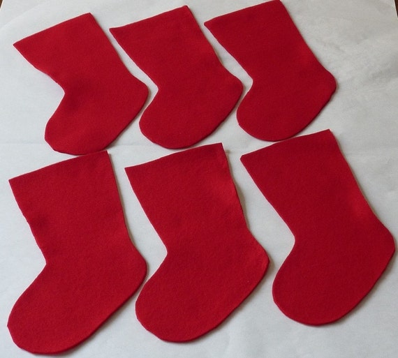 Christmas Stocking Red Felt Fleece Stocking Cut Outs for Holiday Decorations, 6 pieces Medium size