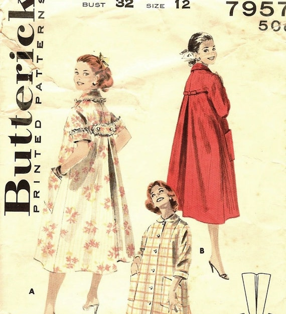 I Love Lucy Pattern Duster Robe  Butterick 7957 Size 12 Bust 32 1950s