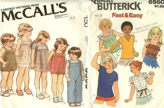 Vintage Children Patterns Sundress, Jumper, Overalls, Sunsuit, Panties, Tops Size 3 McCalls Butterick