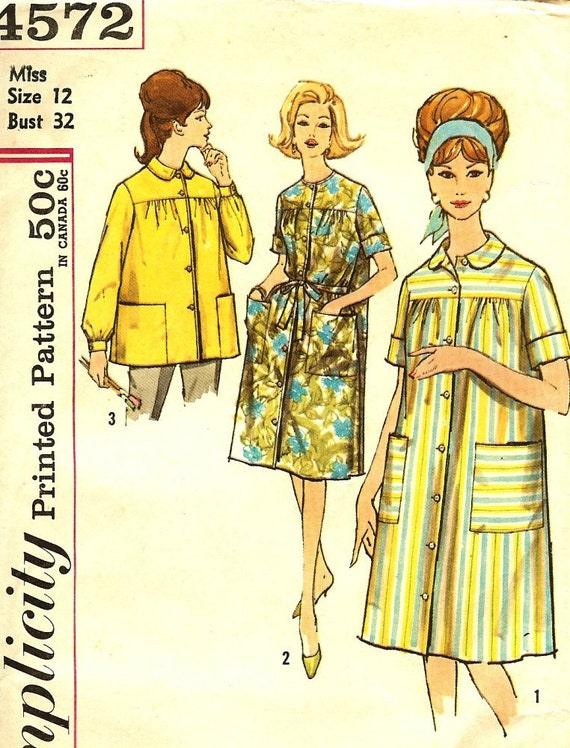 Vintage Smock, Robe, Duster, Pattern Simplicity 4572 Size 12 Bust 32 Free Shipping to US