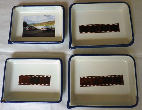 Vintage Enamelware Photo Trays 4 Pans by Cesco 1960s