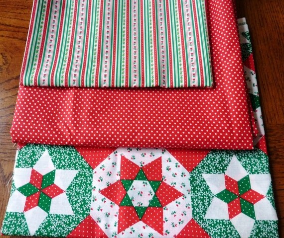 Vintage Christmas Fabric Red and Green Destash Fabric Remnants 3 Yards