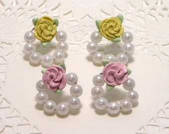 Rose and Pearl loop Earrings Classic Lolita Earrings Available in pink, red, blue, yellow, and purple