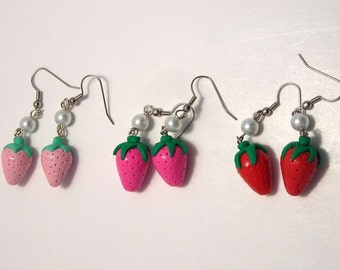 Strawberry and Pearl Earrings Sweet Country Lolita Earrings in light pink, pink, and red