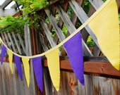 Royal Purple and Yellow  Fabric Bunting Banner Party Decoration