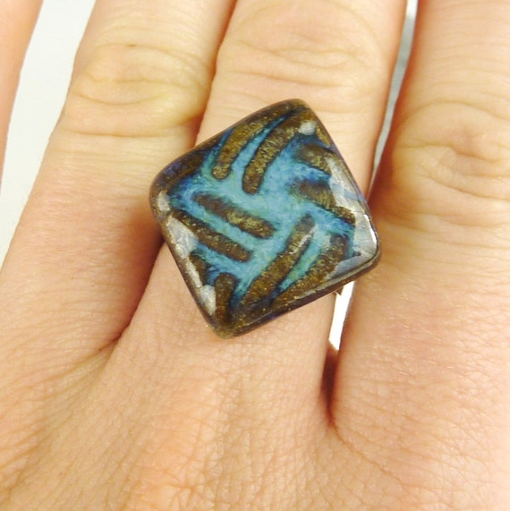 Vivid Blue Diamond Textured Adjustable Stoneware Ring. Handmade stoneware pottery jewel on an adjustable plated brass ring