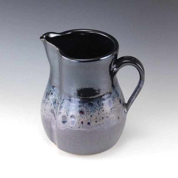 2 Qt Stoneware Pitcher in Midnight, Black, Deep Blue, and Eggplant Purple