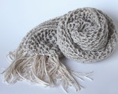 Linen Natural Scarf Knitted  Summer  Long Beige  Color Lace Tassels