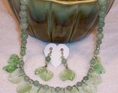 Spring Green Leaves Necklace and Earrings