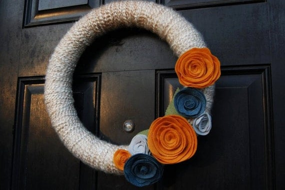 Varigated mohair yarn wreath with felt flowers