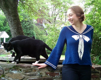 PDF Sailor Sweater Intarsia Knitting Pattern Instant Download