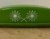 Retro Green and White Daisy Butter Dish