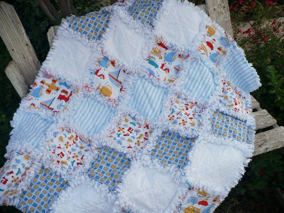 Baby Boy Rag Quilt -Cars Planes Trains Red White and Blue