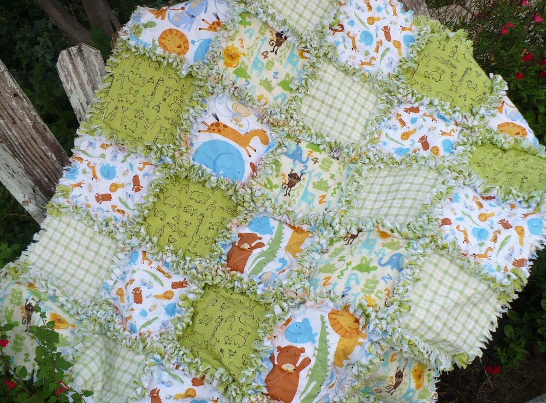 Rag Quilt Animal Patterns : Baby Rag Quilt Jungle Safari Animals Monkeys by SunflowerRagWorks