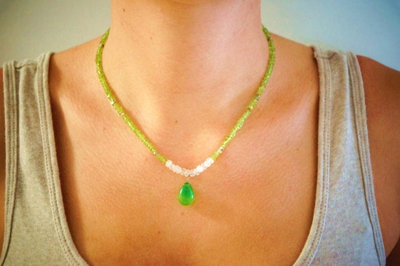 Peridot and Moonstone Necklace with Chalcedony Pendant