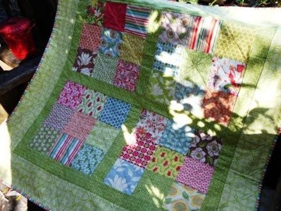 Pretty green charms quilt