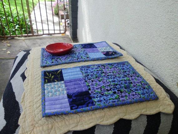 Purple and blue violet mug rugs