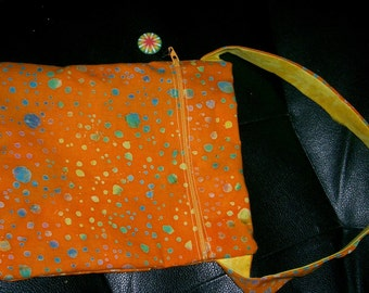 Shoulder Bag Orange Batik OOAK