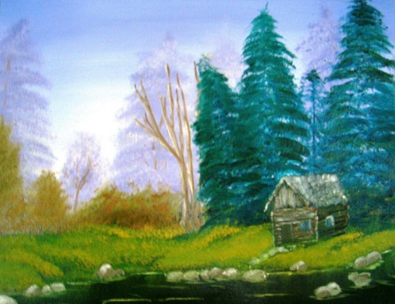 Cabin at Twilight with Purple Sky Original Oil Painting 16x20