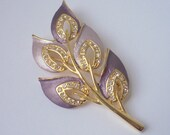 Vintage Lavender Leaf Rhinestone Brooch