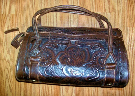 SALE Authentic 70s Tooled Leather Rose Mexican Handbag